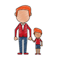 father with his child cartoon vector image