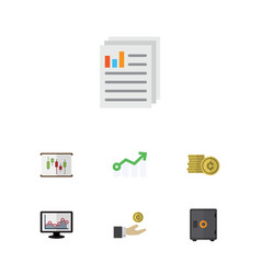 flat icon gain set of diagram strongbox document vector image vector image