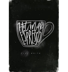 Flat white cup chalk vector