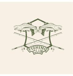 Grunge fishing club crest with salmon vector