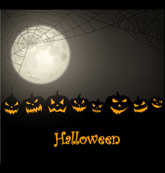 Halloween background with pumpkins and spiderweb vector