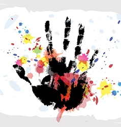 hand print on ink splatter background vector image