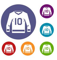 Hockey jersey icons set vector