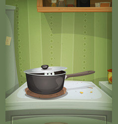 Kitchen scene mouse inside stove vector