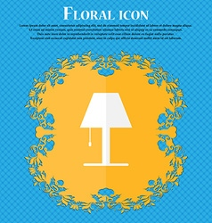 Lamp icon sign floral flat design on a blue vector