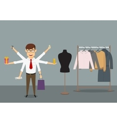 Multitasking businessman shopping in clothes store vector