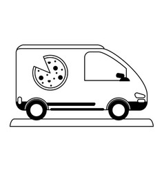 Pizza car silhouette vector