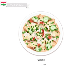 Qurutob One of Famous Dish in Tajikistan vector image vector image