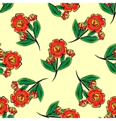 Red flowers on a green stalk seamless pattern vector