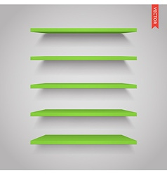 Set of Plastic Shelves Isolated on the Wall vector image vector image