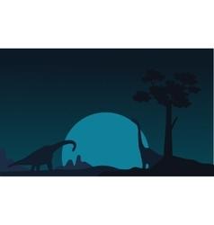 Silhouette of two brachiosaurus landscape vector image