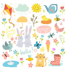 spring set hand drawn elements flowers birds vector image