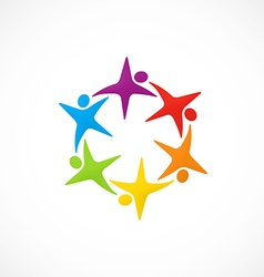 Star circular people teamwork logo vector