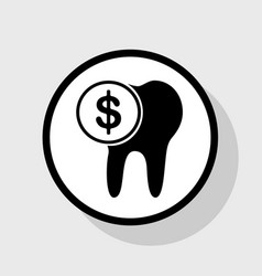 The cost of tooth treatment sign flat vector