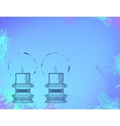 Two highly ornamental candles on watercolor vector