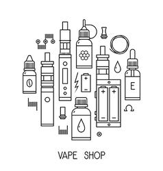 Vape icons in thin line vector