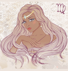 Virgo as a portrait of beautiful african girl vector image vector image