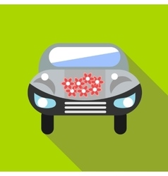 Wedding car icon flat style vector