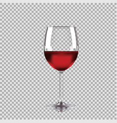 wine glass with red wine transparent vector image vector image