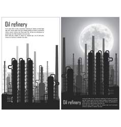 Set of oil and gas refinery flyers vector