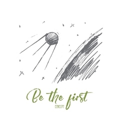 Hand drawn spaceship in cosmos with lettering vector image
