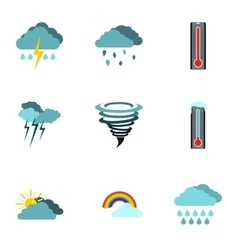 Weather outside icons set flat style vector