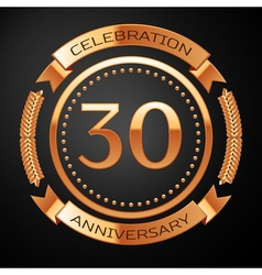 Thirty years anniversary celebration with golden vector image