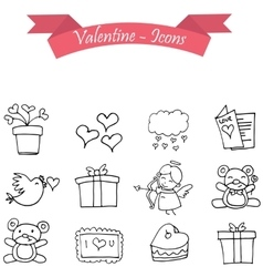 Object valentine day icon with hand draw vector