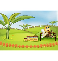 A bee sitting at the bench with jars of honey vector image