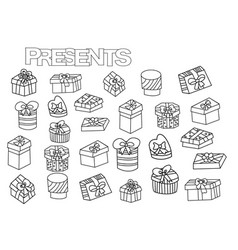 Hand drawn gift boxes set coloring book page vector