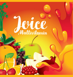 Label for juice with different fruits and berries vector