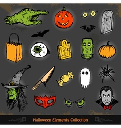 Hand drawn Halloween doodles collection set vector image