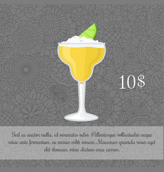 Alcoholic yellow cocktail card template vector