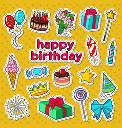 Happy birthday party decoration doodle vector