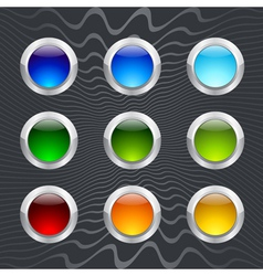 Set of colored round buttons vector