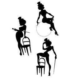 Silhouettes of perfomance burlesque artist vector