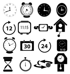 Time alarm clock icons set vector