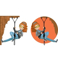 Cute young caucasian woman mountaineer vector