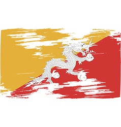 Flag of bhutan with old texture vector