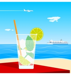 Coctail on beach vector