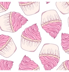 Hand drawn cupcake seamless pattern vector