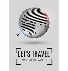 Shiny world globe with plane icon vector image