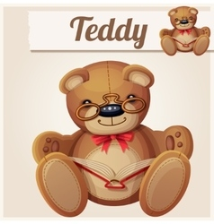 Teddy bear in glasses read the book vector