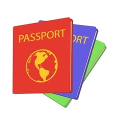 Three passports cartoon icon vector