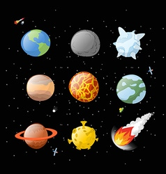 Planet set dark background dark space planets of vector