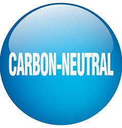 Carbon-neutral blue round gel isolated push button vector