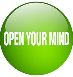Open your mind green round gel isolated push vector