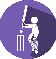 Cricket icon on round badge vector