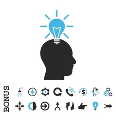 Genius bulb flat icon with bonus vector