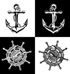anchor wheel art vector image vector image